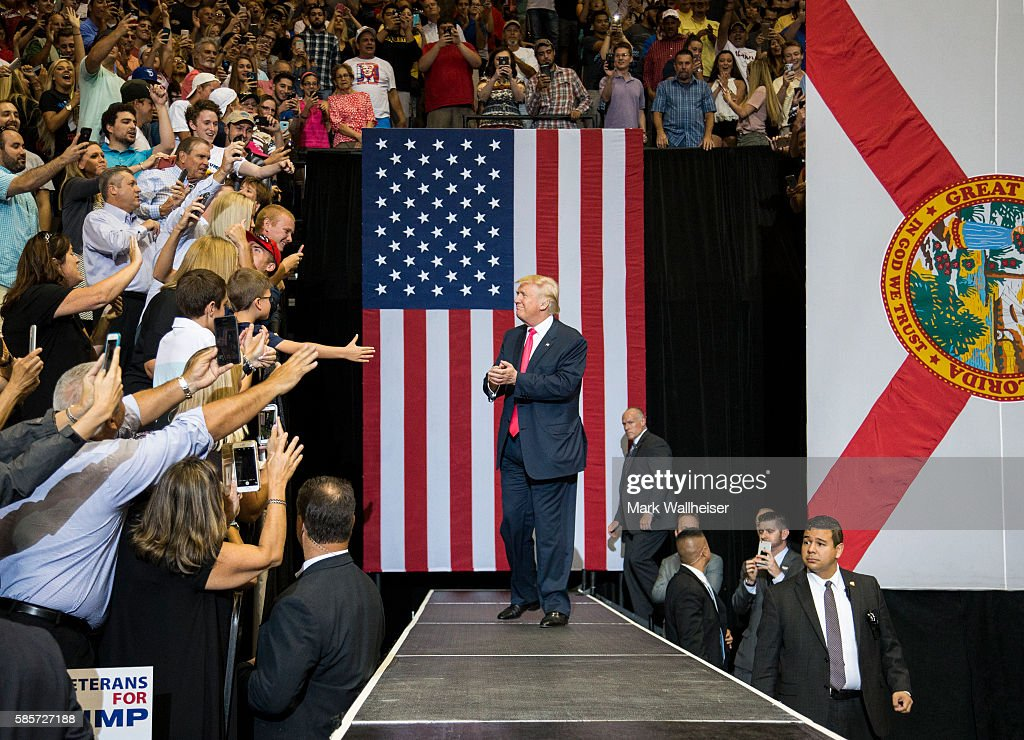 GOP Presidential Nominee Donald Trump Holds Rally In Jacksonville, Florida : News Photo