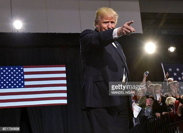Republican presidential nominee Donald Trump arrives for the final rally of his 2016 presidential campaign at Devos Place in Grand Rapids, Michigan...