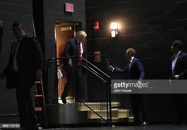 Republican Presidential nominee Donald Trump arrives to address supporters at a campaign rally on August 1 2016 in Mechanicsburg Pennsylvania Trump...