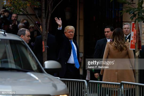 Republican presidential nominee Donald Trump arrives to vote at the Beckman Hill International School in New York City After a contentious campaign...