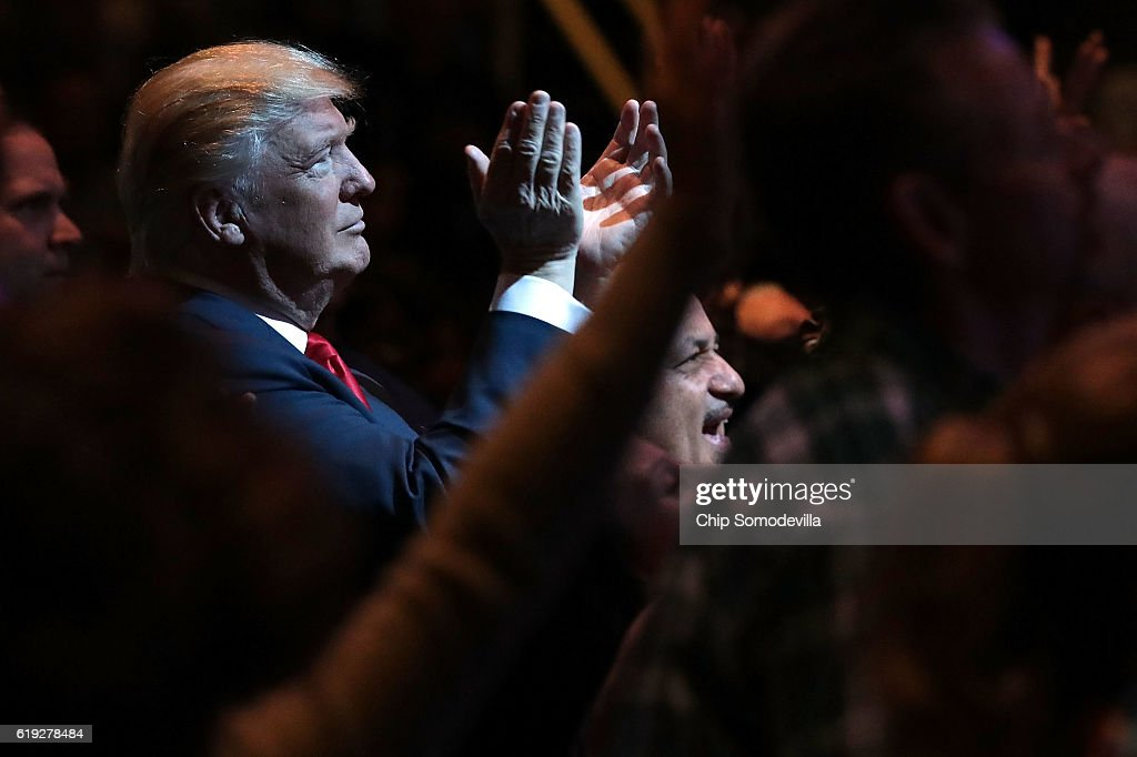 Donald Trump Visits Church In Las Vegas : News Photo