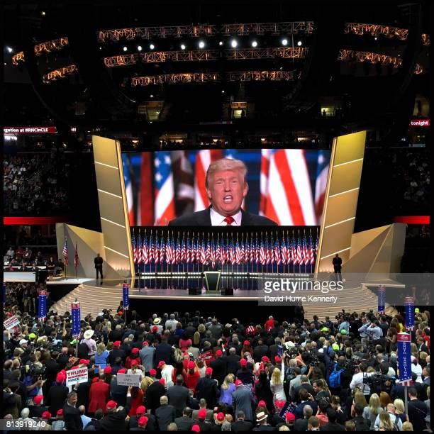 Republican Presidential Nominee Donald Trump delivers his acceptance speech on the final day of the Republican National Convention Cleveland Ohio...
