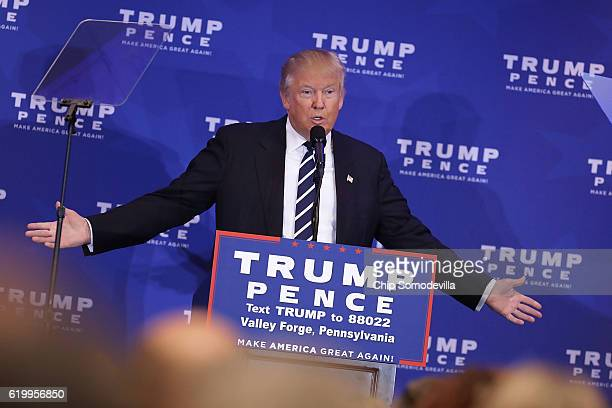 Republican presidential nominee Donald Trump delivers remarks about the Affordable Care Act at the DoubleTree by Hilton November 1 2016 in Valley...