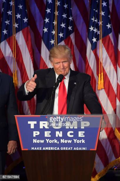 Republican presidential nominee Donald Trump gives a speech during election night at the New York Hilton Midtown in New York on November 8, 2016....