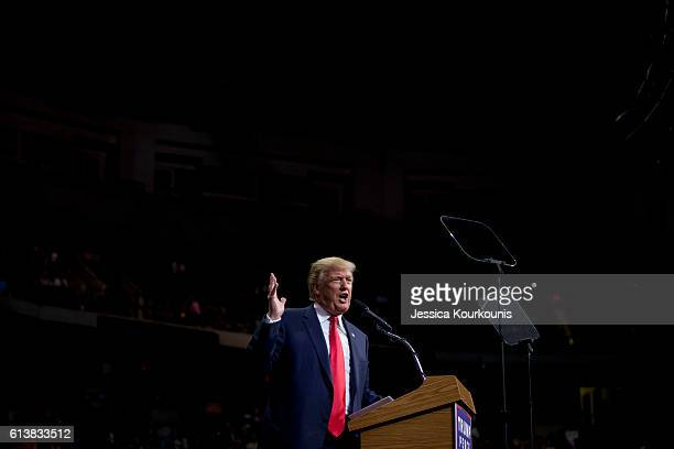 Republican presidential nominee Donald Trump holds a campaign rally on October 10 2016 in WilkesBarre Pennsylvania Trump continues his campaign...