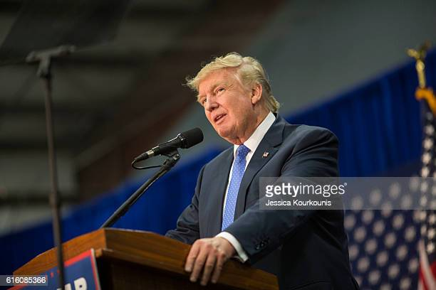 Republican presidential nominee Donald Trump holds a campaign rally on October 21 2016 in Newtown Pennsylvania Mr Trump continues his campaign...