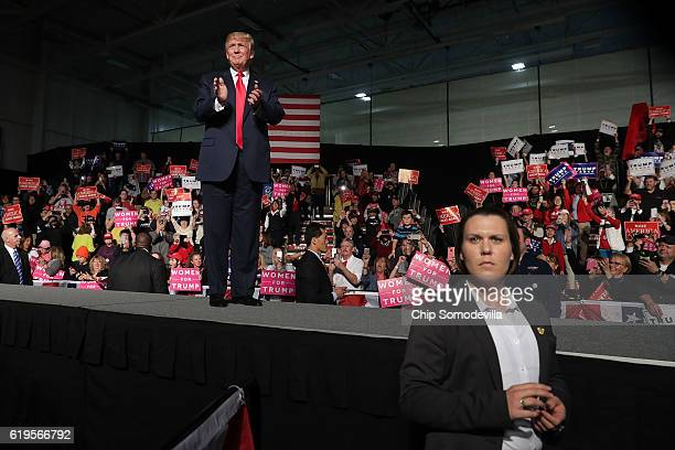 Republican presidential nominee Donald Trump holds a campaign rally at Macomb Community College South Campus October 31 2016 in Warren Michigan With...