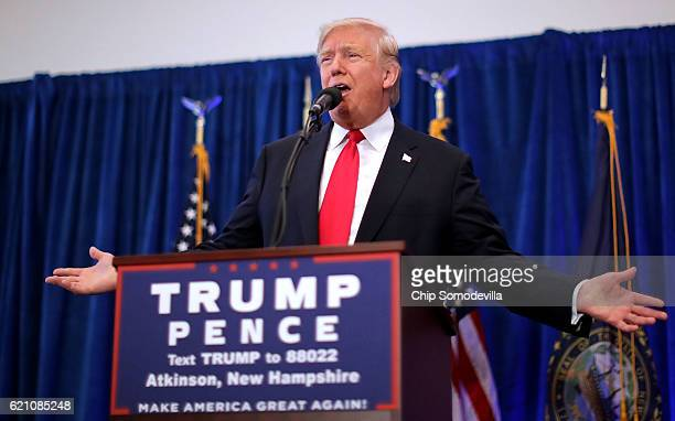 Republican presidential nominee Donald Trump holds a campaign rally at the Atkinson Country Club November 4, 2016 in Atkinson, New Hampshire. With...