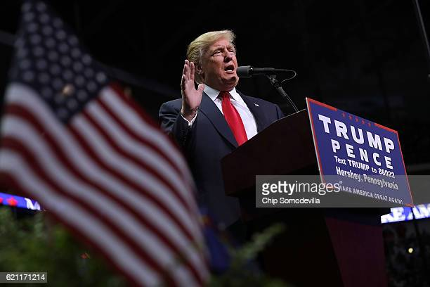 Republican presidential nominee Donald Trump holds a campaign rally at the Giant Center November 4 2016 in Hershey Pennsylvania With less than a week...