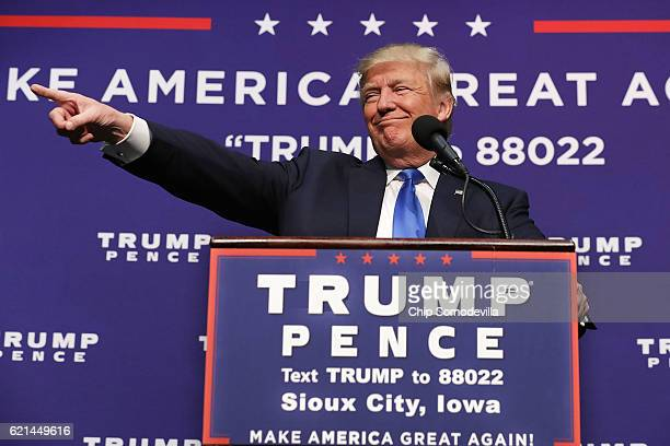 Republican presidential nominee Donald Trump holds a campaign rally at the Sioux City Convention Center November 6, 2016 in Sioux City, Iowa. With...