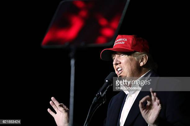 Republican presidential nominee Donald Trump holds a campaign rally at Pittsburgh International Airport November 6 2016 in Moon Township Pennsylvania...