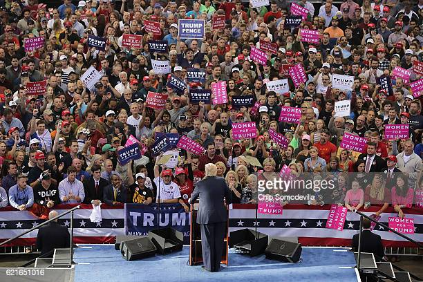 Republican presidential nominee Donald Trump holds a campaign rally at the JS Dorton Arena November 7 2016 in Raleigh North Carolina With less than...
