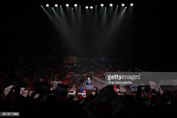 Republican presidential nominee Donald Trump holds a campaign rally at the SNHU Arena November 7 2016 in Manchester New Hampshire With less than 24...