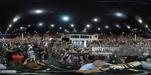 Republican presidential nominee Donald Trump holds a campaign rally in the Robarts Arena at the Sarasota Fairgrounds November 7 2016 in Sarasota...