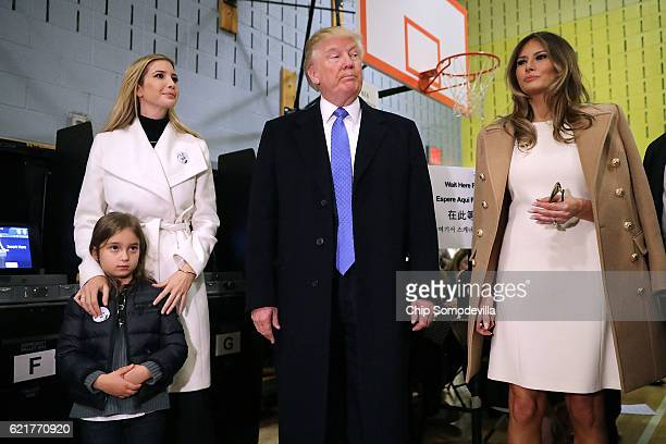 Republican presidential nominee Donald Trump is joined by his wife Melania Trump daughter Ivanka Trump and granddaughter Arabella Rose Kushner as...