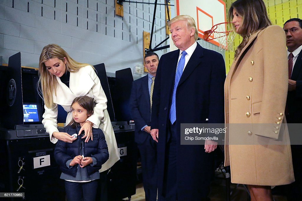 GOP Nominee Donald Trump Casts His Vote In The 2016 Presidential Election : News Photo