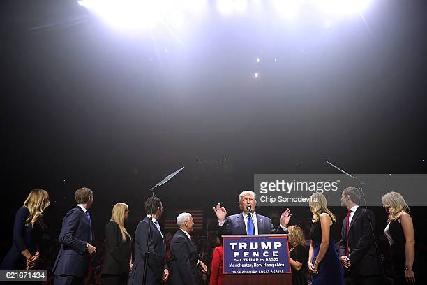 Republican presidential nominee Donald Trump is joined on stage by his family Lara Yunaska Eric Trump Vannessa Trump Donald Trump Jr vice...