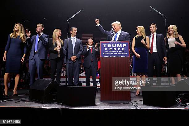 Republican presidential nominee Donald Trump is joined on stage by his famil Lara Yunaska Eric Trump Vannessa Trump Donald Trump Jr vice presidential...