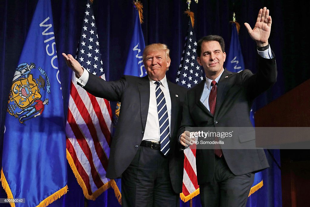 Donald Trump And Mike Pence Campaign Together In Wisconsin : News Photo