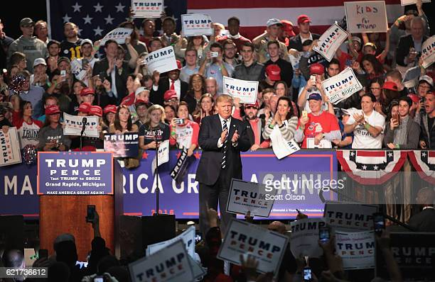 Republican presidential nominee Donald Trump leaves his final campaign rally on November 8 2016 in Grand Rapids Michigan With less than 24 hours...