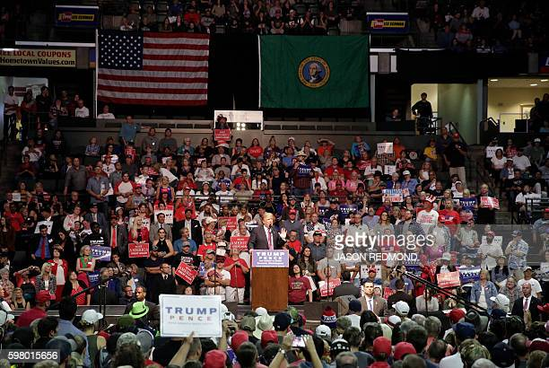 Republican presidential nominee Donald Trump speaks at a rally at Xfinity Arena in Everett Washington on August 30 2016 / AFP / Jason Redmond