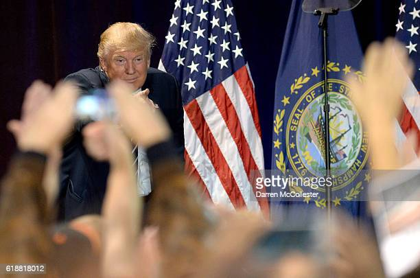 Republican presidential nominee Donald Trump speaks at a rally at the Raddison Hotel on October 28 2016 in Manchester New Hampshire Trump is in a...