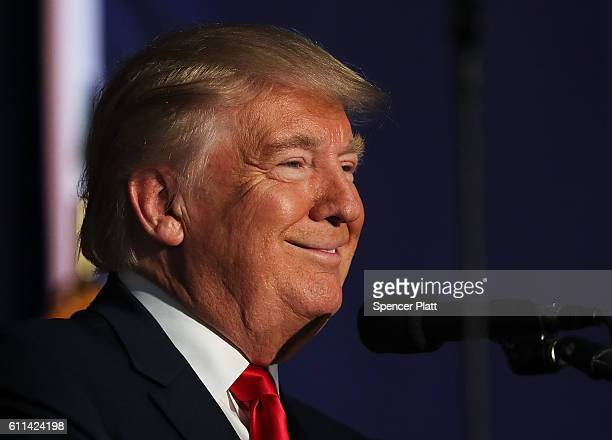 Republican presidential nominee Donald Trump speaks at a rally on September 29 2016 in Bedford New Hampshire Recent polls show a tightening race...