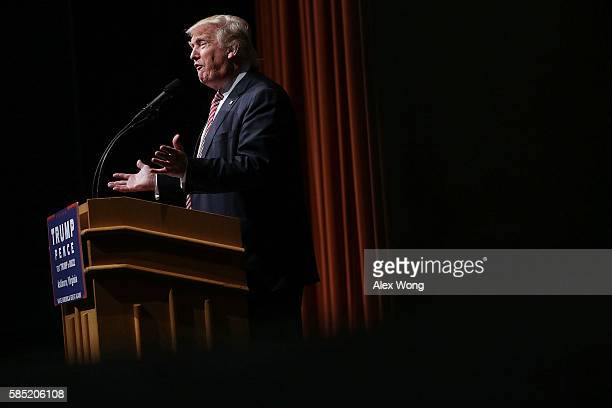 Republican presidential nominee Donald Trump speaks during a campaign event at Briar Woods High School August 2, 2016 in Ashburn, Virginia. Trump...