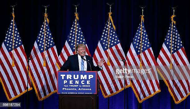 Republican presidential nominee Donald Trump speaks during a campaign rally on August 31 2016 in Phoenix Arizona Trump detailed a multipoint...