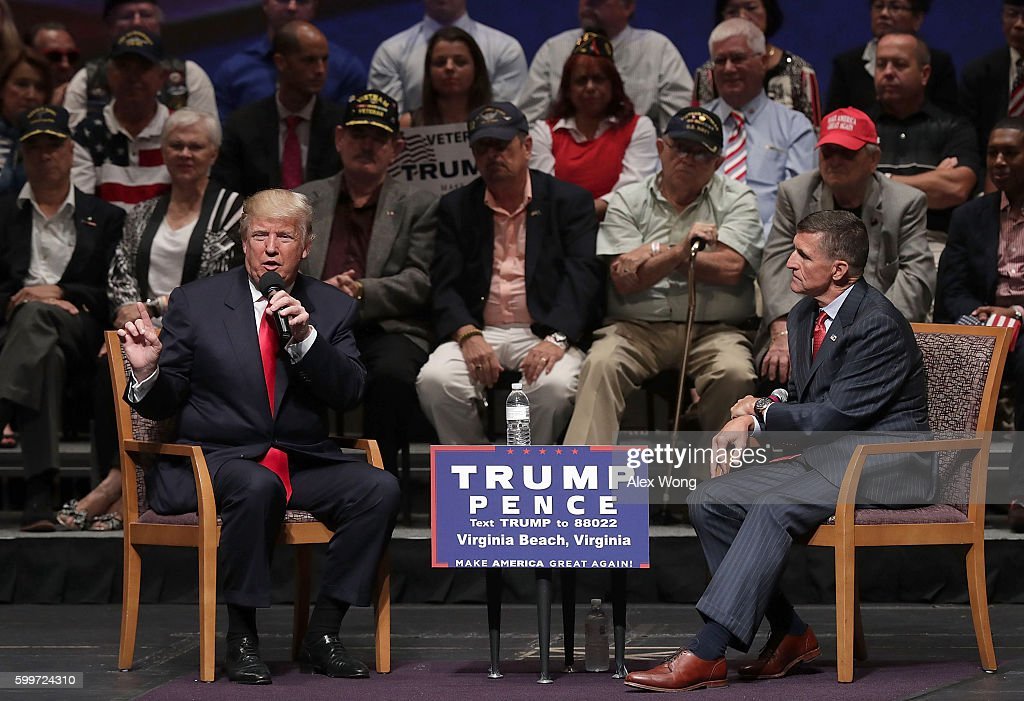 Republican presidential nominee Donald Trump (L) speaks during a campaign event September 6, 2016 in Virginia Beach, Virginia. Trump participated in a discussion with retired Army Lieutenant General Michael Flynn (R).