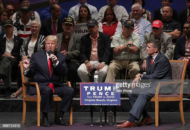 Republican presidential nominee Donald Trump speaks during a campaign event September 6 2016 in Virginia Beach Virginia Trump participated in a...