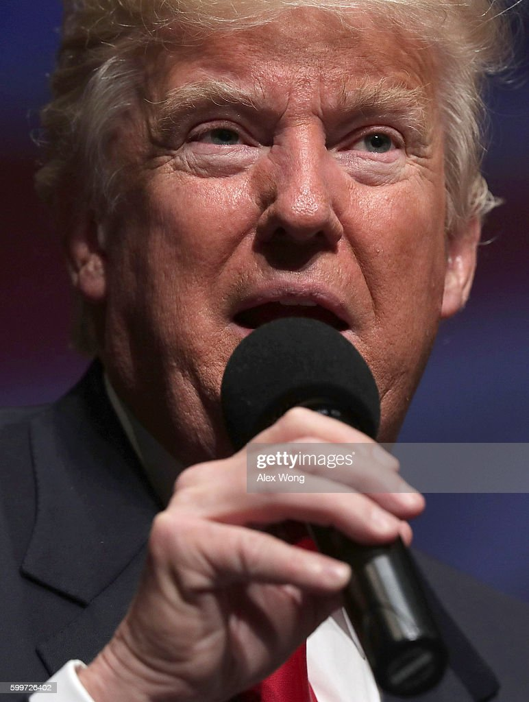 Republican presidential nominee Donald Trump speaks during a campaign event September 6, 2016 in Virginia Beach, Virginia. Trump participated in a discussion with retired Army Lieutenant General Michael Flynn.