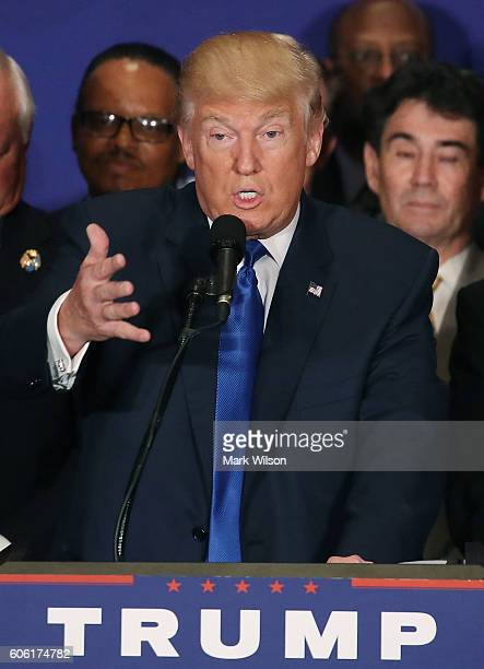 Republican presidential nominee Donald Trump speaks during a campaign event at the Trump International Hotel September 16 2016 in Washington DC Trump...
