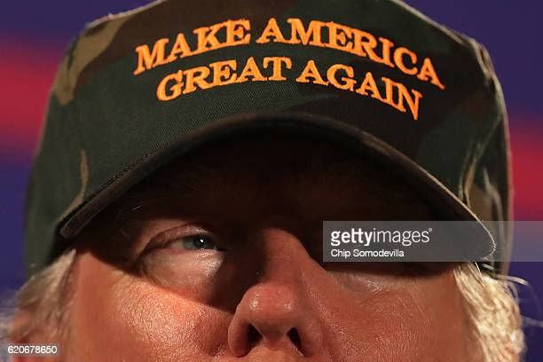 Republican presidential nominee Donald Trump speaks during a campaign rally at Maritime Park's Hunter Amphitheater November 2 2016 in Pensacola...
