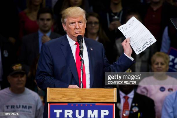 TOPSHOT Republican presidential nominee Donald Trump speaks during a rally at Mohegan Sun Arena in WilkesBarre Pennsylvania on October 10 2016 / AFP...