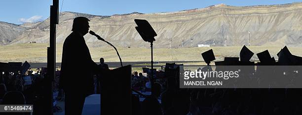 Republican presidential nominee Donald Trump speaks during a rally at West Star Aviation in Grand Junction Colorado on October 18 2016 / AFP / MANDEL...