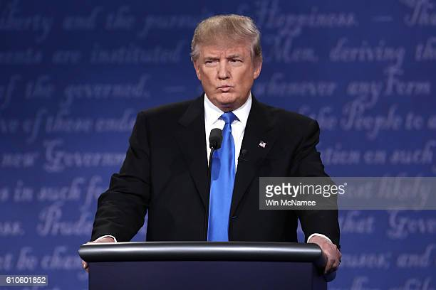 Republican presidential nominee Donald Trump speaks during the Presidential Debate at Hofstra University on September 26 2016 in Hempstead New York...