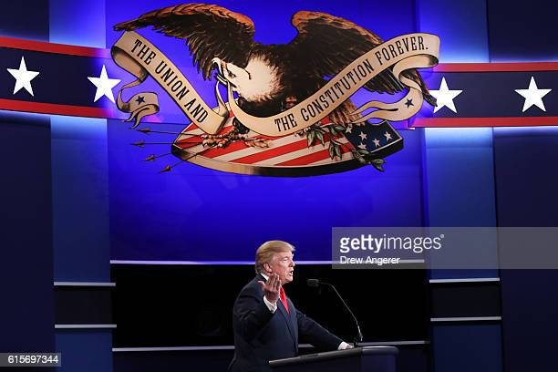 Republican presidential nominee Donald Trump speaks during the third US presidential debate at the Thomas Mack Center on October 19 2016 in Las Vegas...