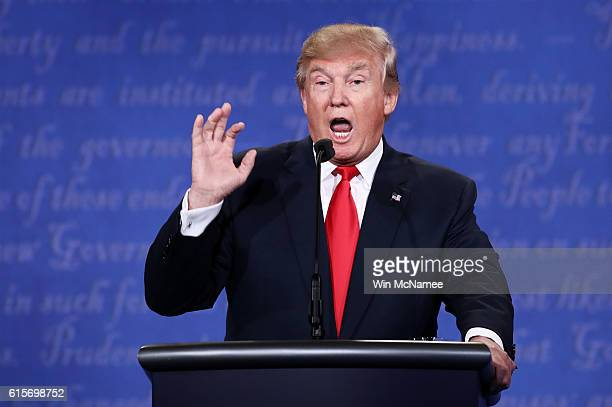 Republican presidential nominee Donald Trump speaks during the third US presidential debate at the Thomas Mack Center on October 19 2016 in Las Vegas...