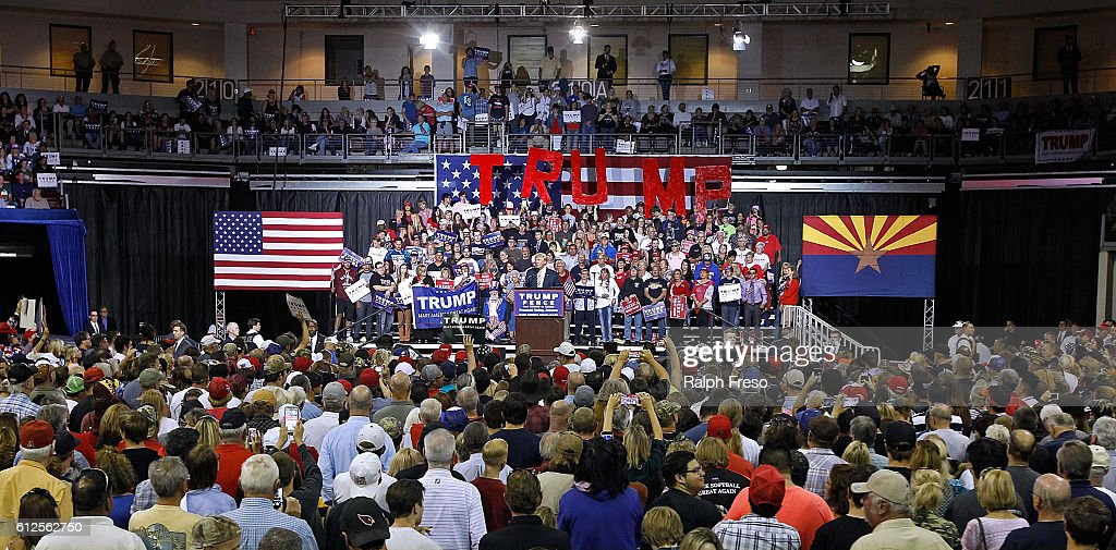 Republican presidential nominee Donald Trump speaks to a crowd of supporters during a campaign rally on October 4, 2016 in Prescott Valley, Arizona.