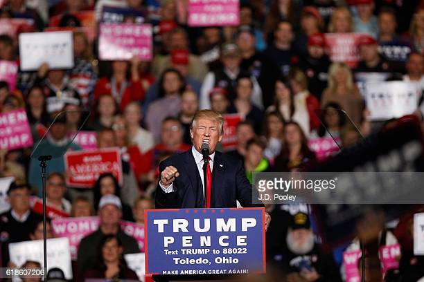 Republican presidential nominee Donald Trump speaks to supporters during a campaign event at the SeaGate Convention Centre on October 27, 2016 in...