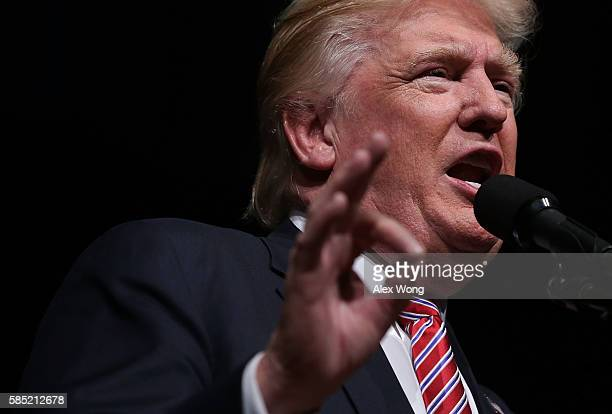 Republican presidential nominee Donald Trump speaks to voters during a campaign event at Briar Woods High School August 2, 2016 in Ashburn, Virginia....