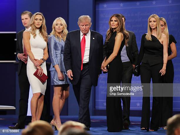 Republican presidential nominee Donald Trump walks off stage as Eric Trump Lara Yunaska Vanessa Trump Melania Trump businessman Jared Kushner Ivanka...