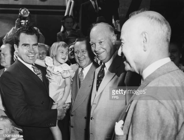 Republican presidential nominee Dwight D Eisenhower visiting campaign headquarters in Washington DC , 10th September 1952. With him are vice...