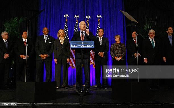 Republican presidential nominee John McCain speaks after meeting with economic advisors Stanford University economist John Taylor Precision Task...