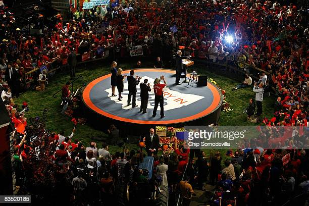 Republican presidential nominee Sen John McCain addresses a campaign rally with his wife Cindy McCain daughter Meghan McCain Calfornia Governor...