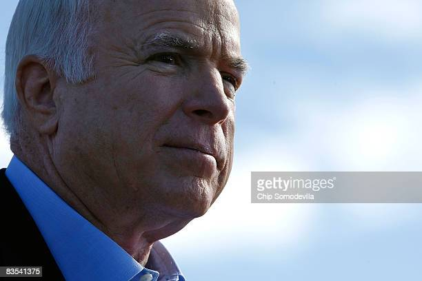 Republican presidential nominee Sen John McCain addresses a campaign rally at the Raymond James Stadium parking lot November 3 2008 in Tampa Florida...