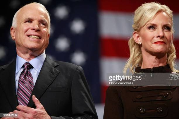 Republican presidential nominee Sen John McCain and his wife Cindy McCain attend a rally at the United Sports Training Center October 16 2008 in...
