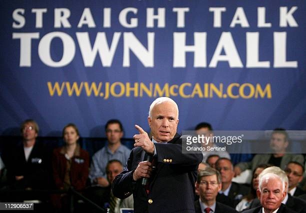 Republican presidential nominee Sen John McCain greets supporters including former Florida State Rep John Quinones at the Asociacion Borinquena de...