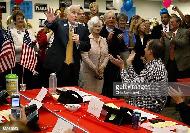 Republican presidential nominee Sen John McCain his wife Cindy McCain his mother Roberta McCain Sen Pete Dominici and former US Rep Heather Wilson...